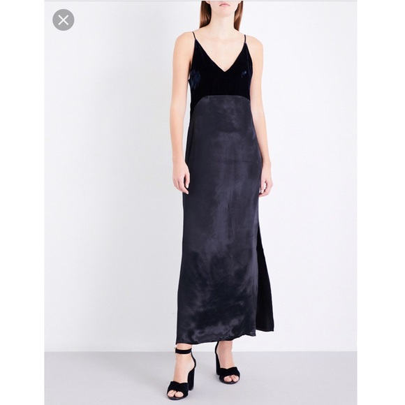 Maje Womens Velvet Slip Dress 3 Black